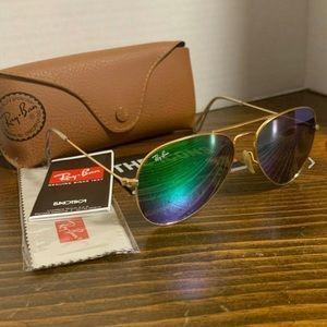 Ray-Ban Aviator Sunglasses Green Flash Lens 55mm